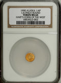 "Alaska Tokens: , 1900 Alaska Gold 1/4 Pinch Round MS64 NGC. Gould-Bressett 128. FromHart's ""Coins of the West"" series. Indian head left, 14 ..."