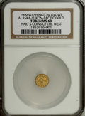 """Alaska Tokens: , 1909 Alaska Gold A.Y.P.E. 1/4 DWT MS63 NGC. Gould-Bressett 168.From Hart's """"Coins of the West"""" series. Offered at the Alask..."""
