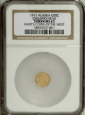 Alaska Tokens: , 1911 Alaska 1/2 Gold, Parka Head, MS63 NGC. Gould-Bressett 176.Dated 1911, an Eskimo head faces to the right with 10 stars....