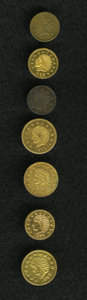 California Gold Charms: , An Uncertified lot of (7) California Gold Charms. The lot contains: 1852 Round 1/2, Indian/Bear, MS60; 1853 Round, Indian/Wr... (Total: 7 pieces)