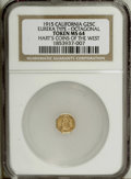 California Gold Charms: , 1915 Eureka Gold Token, MS64 NGC. Gold quarter dollar size. The reverse of these pieces is similar to certain California gol...