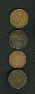 Australian Tokens: , Australian 19th Century Group Lot. Four merchant tokens: FlavelleBros. & Co., KM Tn-70; I. Friedman, KM Tn-73; J.G. Fleming...(Total: 4 tokens)