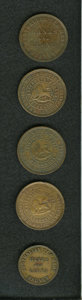 Australian Tokens: , Australian 19th Century Merchant Token Group Lot. Consists of fivetokens: KM Tn-83.1; KM Tn-84; KM Tn-103, two pieces; and ...(Total: 5 tokens)