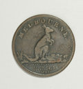 Australian Tokens: , Australian 19th Century Merchant Token Group Lot. Includes a pennytoken issued in 1862 by T. Stokes, Melbourne, KM Tn-233,... (Total:3 tokens)