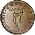 New Zealand Tokens: , New Zealand 19th Century Merchant Token, J.W. Mears, Wellington, MS60 Brown Uncertified. This very scarce and outstanding to...