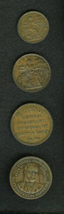 New Zealand Tokens: , New Zealand 19th Century Merchant Token Group Lot. Includes four merchant tokens, three one pennies and one halfpenny: KM Tn... (Total: 4 tokens)