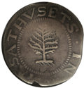 1652 SHILNG Pine Tree Shilling, Large Planchet VF25 NGC. Noe-1, Crosby 12-I, R.2. 63.4 grains. A smooth and gently wavy...