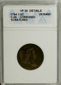 1794 1/2 C --Corroded, Scratched--ANACS. VF30 Details. C-2a, B-2b, High R.2. The Small Letters Edge is assumed. Close da...