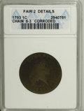 1793 Chain 1C AMERICA--Corroded--ANACS. Fair 2 Details. S-3, B-4, Low R.3. This dark and rough piece has largely readabl...