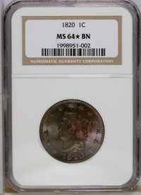 1820 1C Large Date MS64 ★ Brown NGC. N-13, R.1. Lovely powder-blue, orange, and olive-brown toning confirms the merit of...