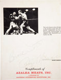 """Boxing Collectibles:Autographs, Rocky Marciano and Bernie Soto Multi Signed """"Azalea Meats""""Promotional Piece...."""