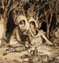 Mainstream Illustration, HENRY PATRICK RALEIGH (American, 1880-1944). An EveningPicnic. Watercolor and ink on board. 15.25 x 14.5 in.. Signedlo...