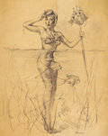 Pin-up and Glamour Art, GIL ELVGREN (American, 1914-1980). A Surprising Catch, Brown& Bigelow finished preparatory drawing for pin-upcalendar,...