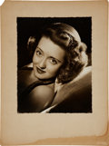 Movie/TV Memorabilia:Autographs and Signed Items, Bette Davis Signed Photo Portrait to Bud Westmore....