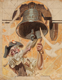 JOSEPH CHRISTIAN LEYENDECKER (American, 1874-1951) Ringing the Liberty Bell, preliminary study for Saturday Eve