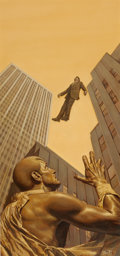 Pulp, Pulp-like, Digests, and Paperback Art, BOB LARKIN (American, 20th Century-). The Man Who Fell Up, DocSavage paperback cover, 1982. Mixed media on board. 20 x ...