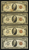 Small Size:World War II Emergency Notes, Fr. 2303 $10 1934A Hawaii Federal Reserve Notes. Four Examples. Fine or Better.. ... (Total: 4 notes)