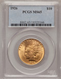Indian Eagles: , 1926 $10 MS65 PCGS. PCGS Population (321/9). NGC Census: (642/51).Mintage: 1,014,000. Numismedia Wsl. Price for problem fr...