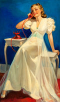 Mainstream Illustration, RUSSELL SAMBROOK (American, 1891-1956). Pin-Up #214. Oil oncanvas. 50 x 30 in.. Signed lower right. ...