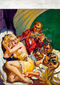 Pulp, Pulp-like, Digests, and Paperback Art, NORMAN SAUNDERS (American, 1907-1989). Black Book Detective pulpcover, February 1936. Oil on canvas. 34 x 24 in.. Signe...