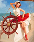 Pin-up and Glamour Art, Attributed to GIL ELVGREN (American, 1914-1980). SailorGirl. Oil on canvas. 30 x 24 in.. Not signed. ...