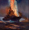 Mainstream Illustration, ANTON OTTO FISCHER (American, 1882-1962). War Ships. Oil oncanvas. 30 x 28 in.. Signed and dated lower right. ...