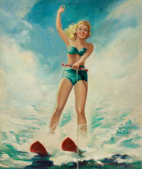 HOWARD CONNOLLY (American, b. 1903) Pin-Up Water Skiing Oil on canvas 33 x 28 in. Signed lower