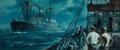 Mainstream Illustration, ANTON OTTO FISCHER (American, 1882-1962). Ship Passing in theNight. Oil on canvas. 18 x 42.25 in.. Signed lower right. ...