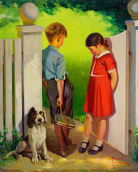 RUSSELL SAMBROOK (American, 1891-1956) Puppy Love Oil on canvas 34.75 x 28 in. Signed lower ri
