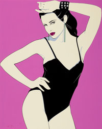 PATRICK NAGEL (American, 1945-1984) Playboy Pin-Up, July 1982 Mixed media on board 18 x 14.25 in
