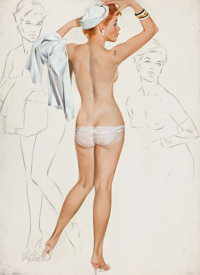FRITZ WILLIS (American, 1907-1979) Nude with Hat, July 1965 Oil on canvas board 29 x 22 in. Si