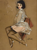 Pin-up and Glamour Art, FRITZ WILLIS (American, 1907-1979). Seated Brunette, October1965. Mixed media on board. 26 x 18.25 in.. Signed lower ri...
