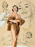 Pin-up and Glamour Art, AL BUELL (American, 1910-1996). Glamour Pin-Up study. Mixedmedia on board. 19.5 x 14.5 in.. Signed lower left. ...