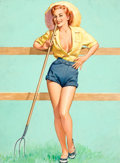 Pin-up and Glamour Art, PEARL FRUSH (American, 20th Century). That Ain't Hay.Gouache on board. 17.25 x 13.75 in.. Signed lower right. ...