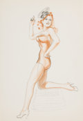Pin-up and Glamour Art, ALBERTO VARGAS (American, 1896-1982). Untitled. Wash, contecrayon, and pencil on paper. 12.5 x 8.75 in.. Not signed. ...