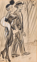 Pin-up and Glamour Art, BILL WARD (American, 1919-1998). Sunday Walk, circa 1950s.Conte crayon and watercolor on paper. 21.75 x 13.25 in.. Sign...