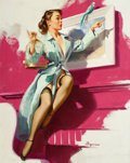 Pin-up and Glamour Art, GIL ELVGREN (American, 1914-1980). Pretty Cagey, 1953. Oilon canvas. 30 x 24 in.. Signed lower right. ...