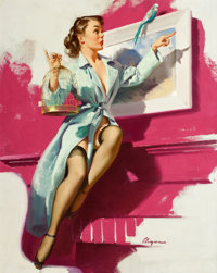 GIL ELVGREN (American, 1914-1980) Pretty Cagey, 1953 Oil on canvas 30 x 24 in. Signed lower ri