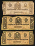 Confederate Notes:Group Lots, Three Confederate $1 Notes.. ... (Total: 3 notes)