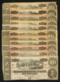 Confederate Notes:1864 Issues, T68 $10 1864. Eleven Examples.. ... (Total: 11 notes)