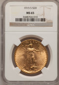 Saint-Gaudens Double Eagles: , 1915-S $20 MS65 NGC. NGC Census: (1565/146). PCGS Population(1834/183). Mintage: 567,500. Numismedia Wsl. Price for proble...