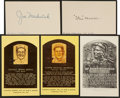 Baseball Collectibles:Others, Stan Musial and Joe Medwick Signed Index Cards Lot of 2....
