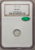 Three Cent Silver, 1871 3CS MS66 ★ NGC. CAC....