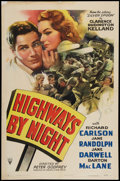 "Movie Posters:Adventure, Highways by Night (RKO, 1942). One Sheet (27"" X 41""). Adventure....."