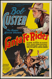 "Santa Fe Rides (Reliable, 1937). One Sheet (27"" X 41""). Western"