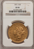 Liberty Double Eagles: , 1872 $20 XF45 NGC. NGC Census: (40/549). PCGS Population (48/348).Mintage: 251,880. Numismedia Wsl. Price for problem free...