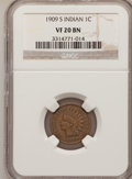 Indian Cents, 1909-S 1C VF20 BN NGC. NGC Census: (89/932). PCGS Population (234/1680). Mintage: 309,000. Numismedia Wsl. Price for proble...