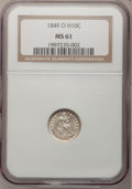 Seated Half Dimes, 1849-O H10C MS61 NGC....