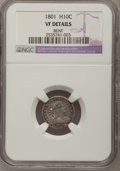 Early Half Dimes, 1801 H10C --Bent--NGC Details. VF. V-1, LM-2, R.4....