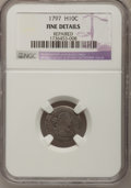 Early Half Dimes, 1797 H10C 16 Stars--Repaired--NGC Details. Fine. V-3, LM-3, R.5....